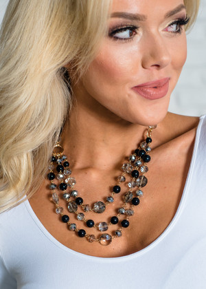 Crystal Clear Beaded 3 Layered Necklace Black CLEARANCE