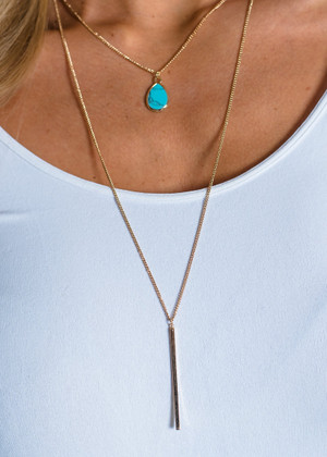 All Night Anthem Double Layered Necklace Turquoise