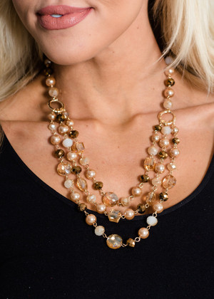 Crystal Clear Beaded 3 Layered Necklace Brown CLEARANCE