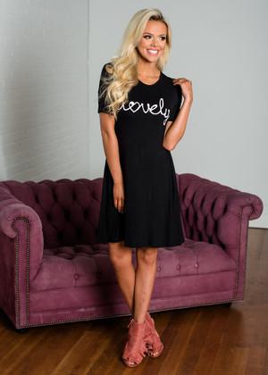 """""""Lovely"""" Short Sleeve Dress Black"""