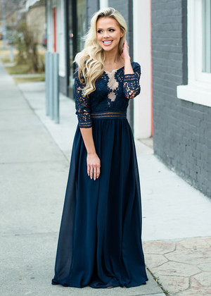 Laced to Perfection Detailed Maxi Dress Navy