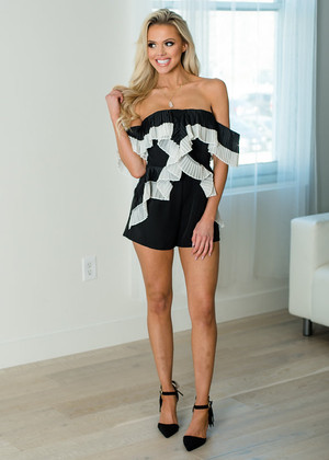I Can See It In Your Eyes Pleated Ruffle Romper Black CLEARANCE