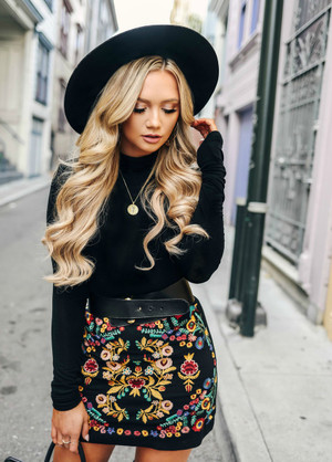 Bring It On Floral Embroidered Skirt Black