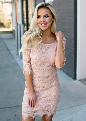 Accidentally In Love Scalloped Lace Dress Blush