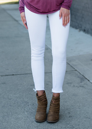 Ready For The Runway Ankle Zip Jeans White CLEARANCE