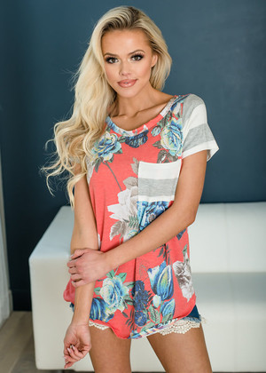 Catch Me On Vacation Floral Striped Top Coral