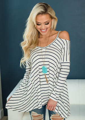 It's Never Easy Peek a Boo Shoulder Striped Tunic Top Ivory