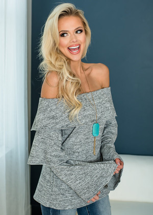 I'd Do It All Again Tiered Sleeve Off The Shoulder Top Heather Gray