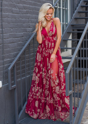 Petals of Love Floral Gorgeous Flowy Sheer Maxi Gown Wine