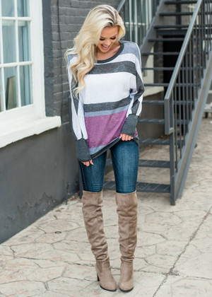 Dive Back Into Love Striped Dolman Top Gray/Plum