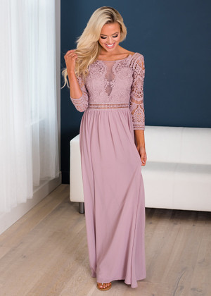 Laced to Perfection Detailed Maxi Dress Mauve