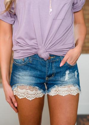 Woven Peek a Boo Crochet Lace Distressed Denim Shorts