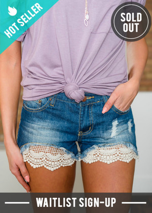 Woven Peek a Boo Crochet Lace Distressed Denim Shorts
