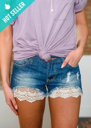 Woven Peek a Boo Crochet Lace Distressed Denim Shorts CLEARANCE