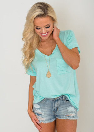 Solid Roll Up Sleeve Basic Pocket Tee Mint