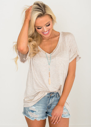 Solid Roll Up Sleeve Basic Pocket Tee Oat