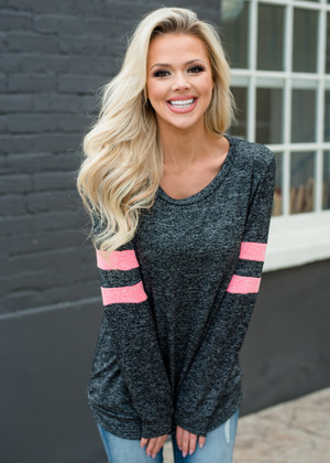Go To Bat For You Varsity Stripe Top Charcoal/Neon Pink