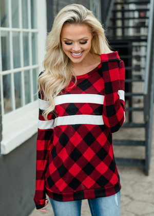 You Amaze Me Striped Checkered Top Black/Red