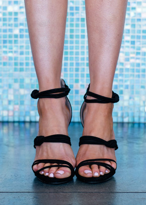 Every Step You Take Open Toe Strappy Heel Black