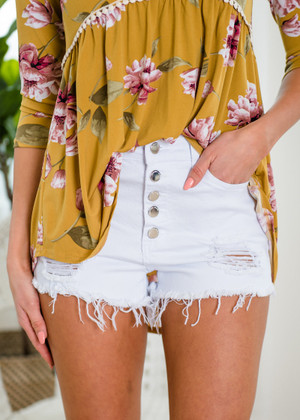 White Distressed High Waisted Shorts