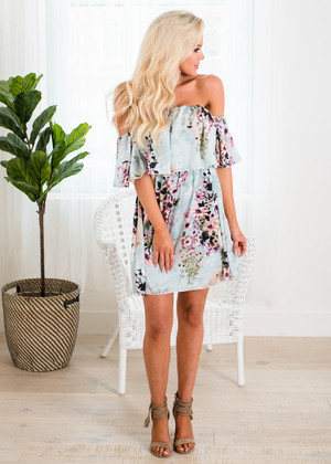 Floral Ruffle Luau Off Shoulder Dress Light Blue