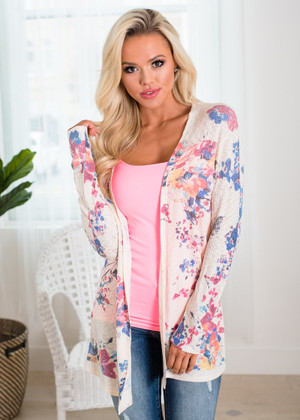 I Wanna Be With You Everywhere Floral Cardigan Ivory