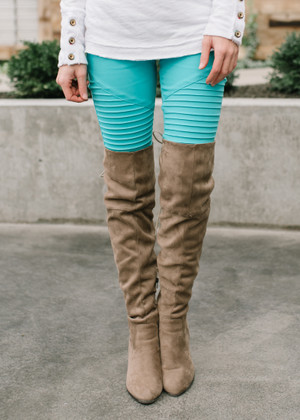 My Washed Moto Jeggings Sea Foam CLEARANCE