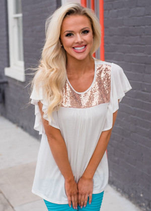 Sequins Ruffled Short Sleeve Fashion Top Ivory