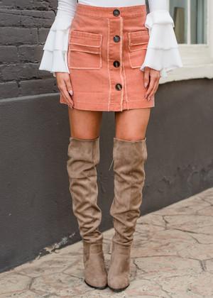 Cute As A Button Bohemian Pocket Skirt Dusty Peach CLEARANCE