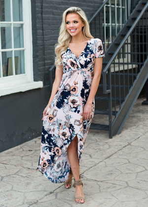 Slowly Please Floral High Low Dress Peach
