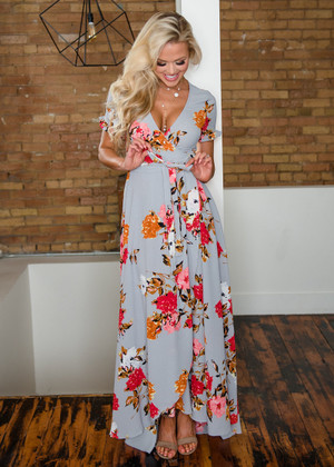 Just Enjoying The Moment Gray Floral Wrap Dress