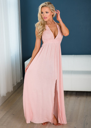 Never Doubt Love Crochet Lace Front Halter Frayed Bottom Maxi Dress Blush