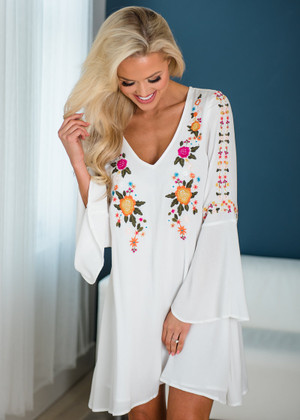 Get in My Closet Embroidered Belle Sleeve Dress Off White