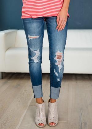 Make Me Happy Nature's Denim Distressed Jeans