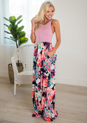 Think A Little Less Floral Tank Maxi Dusty Pink