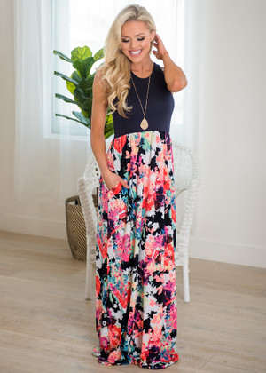Think A Little Less Floral Tank Maxi Navy