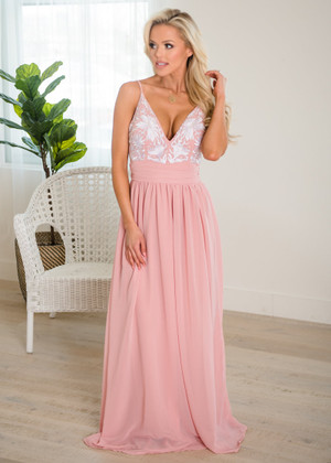 Lovely Floral Embroidered Spaghetti Strap Maxi Dress Dusty Blush