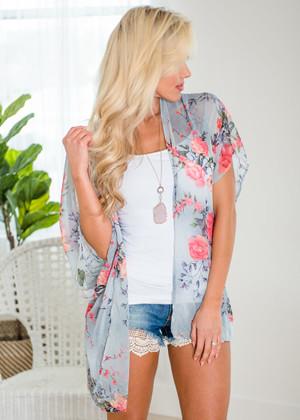 Spring Has Sprung Sheer Floral Tie Kimono Gray