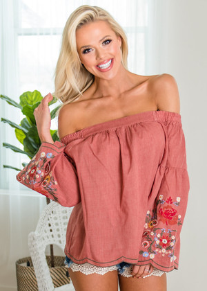 WOW Floral Embroidered Off Shoulder Flared Top Clay CLEARANCE
