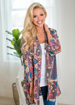 Blossoming Beauty Kimono Charcoal