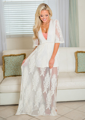 Lacey Sheer Dreams Plunge Neck Line Romper Maxi Dress Natural