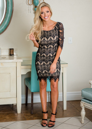 Accidentally In Love Scalloped Lace Dress Black