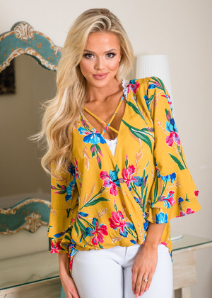 Bright and Shiny Floral Perfection Drape Top Mustard