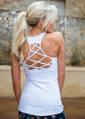 Run The World Criss Cross Back Tank White