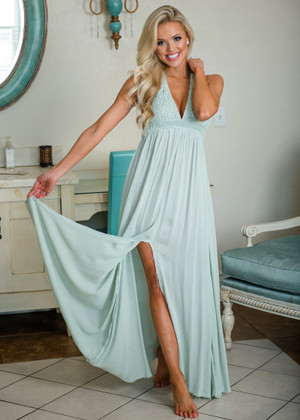 Never Doubt Love Crochet Lace Front Halter Frayed Bottom Maxi Dress Seafoam