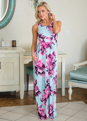 Great Oasis Floral Maxi Dress Blue