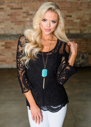 Have To Have It Crochet Lace Top Black