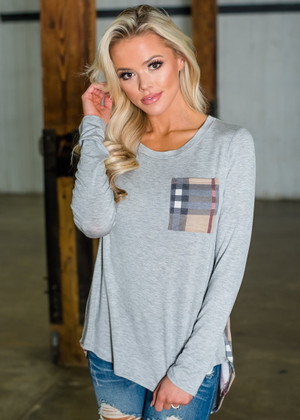Plaid Pocket and Back High Low Top Gray/Taupe