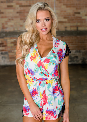 Feeling Prim With a Lace Trim Floral Bright Romper