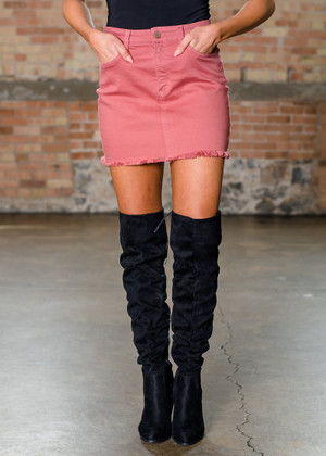 High Waisted Cut Edged Denim Skirt Mauve